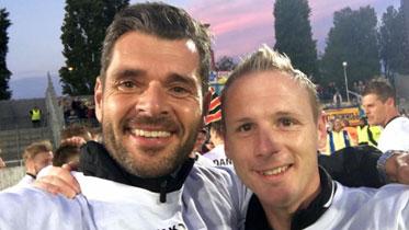 Athletiktrainer Christoph Reisinger (li) und Trainer Jochen Fallmann sorgen für die Fitness des SKN-Kaders. - Foto. Facebook